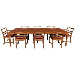 Edward Wormley Dunbar Dining Table with Eight Chairs and Two Extensions Leaves