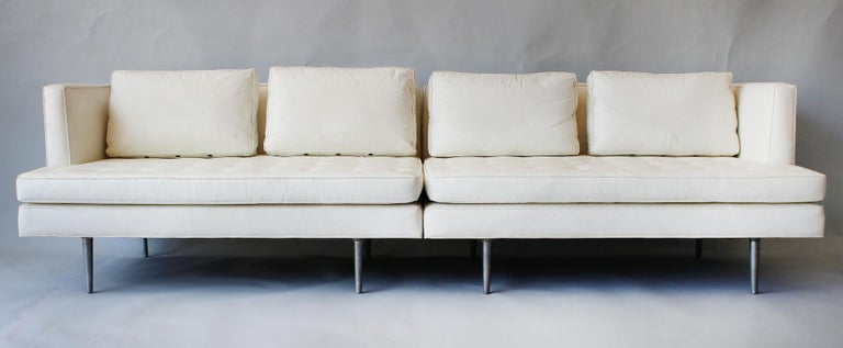 A two-piece sectional sofa, model number 4908, designed by Edward Wormley for Dunbar Furniture. This low profile sofa is one of the most comfortable modern pieces you will ever sit on. Can be used as shown or as settees opposing one another or as a