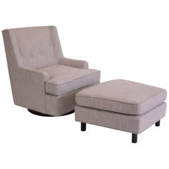 Edward Wormley Dunbar Swivel Reclining Chair and Ottoman