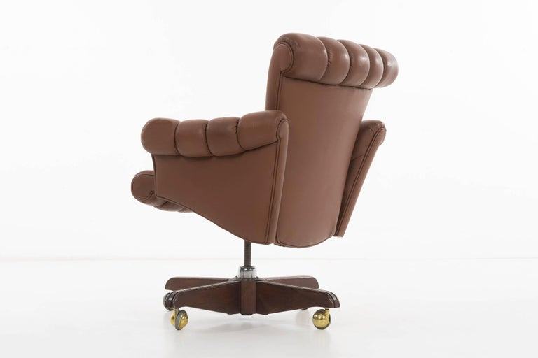 Leather Edward Wormley Executive Office Chair For Sale