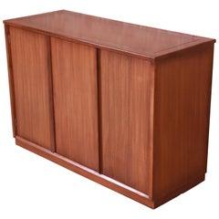 Edward Wormley for Drexel Precedent Elm Wood Sideboard or Bar Cabinet, 1950s