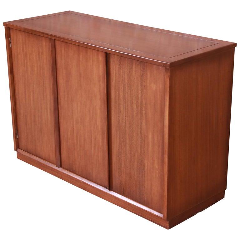 Edward Wormley for Drexel Precedent Elm Wood Sideboard or Bar Cabinet, 1950s For Sale