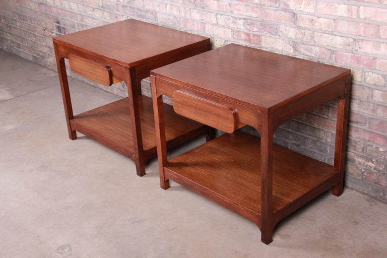 American Edward Wormley for Drexel Precedent Mid-Century Modern Nightstands, Refinished For Sale