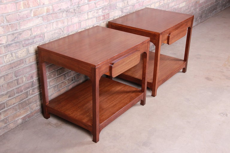 Mid-20th Century Edward Wormley for Drexel Precedent Mid-Century Modern Nightstands, Refinished For Sale