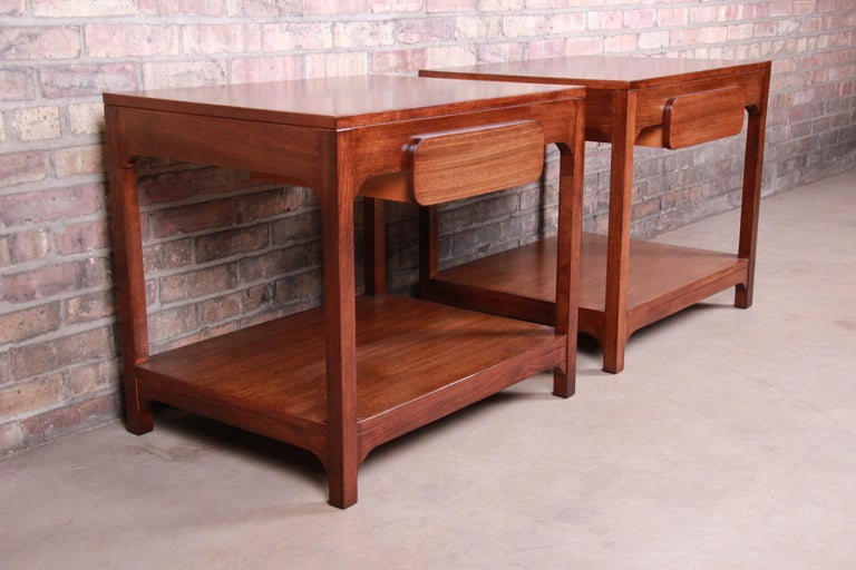 Elm Edward Wormley for Drexel Precedent Mid-Century Modern Nightstands, Refinished For Sale