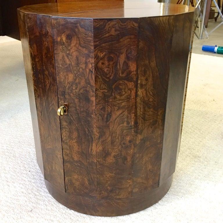 Mid-Century Modern Edward Wormley for Dunbar #6302C Pedestal Drum Bar Cabinet For Sale