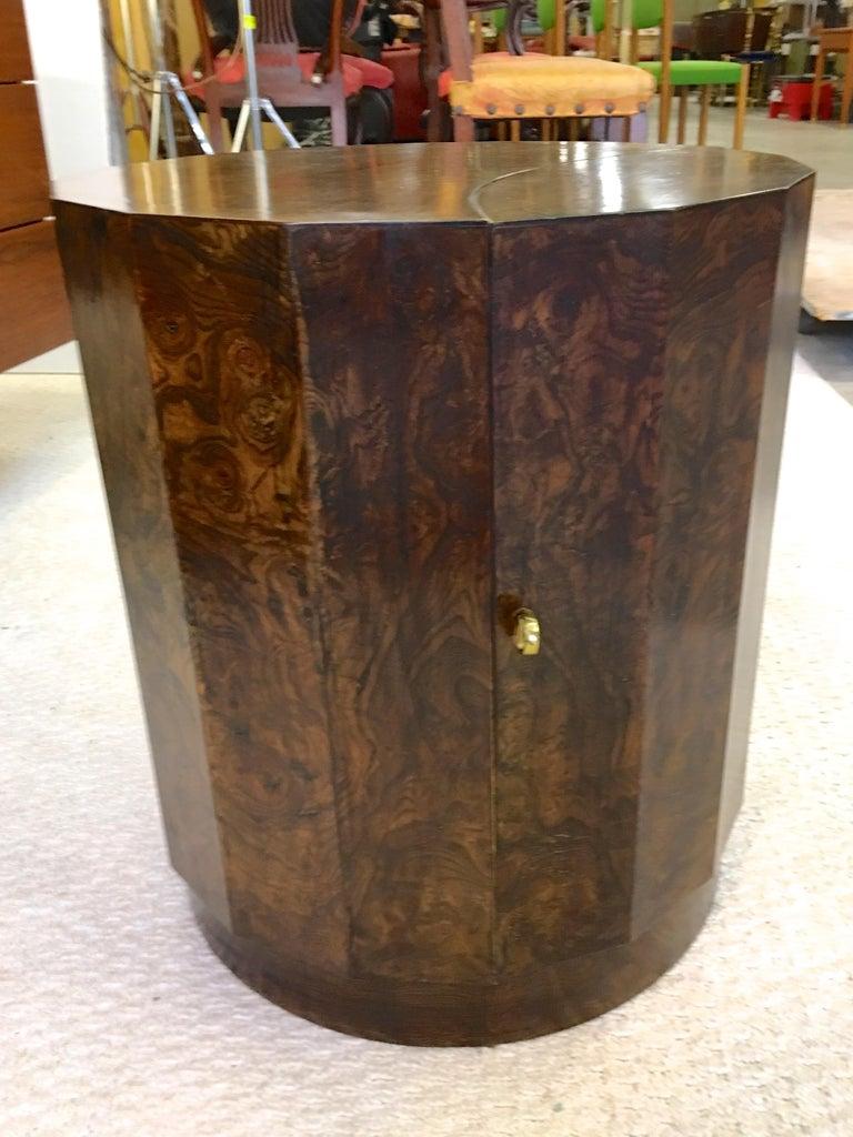 Burl Edward Wormley for Dunbar #6302C Pedestal Drum Bar Cabinet For Sale