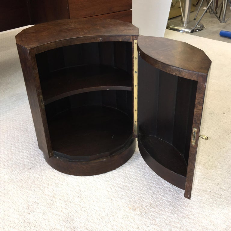 Edward Wormley for Dunbar #6302C Pedestal Drum Bar Cabinet For Sale 1