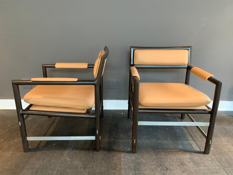 Pair of Edward Wormley,signed Dunbar armchairs (to underside) known as
