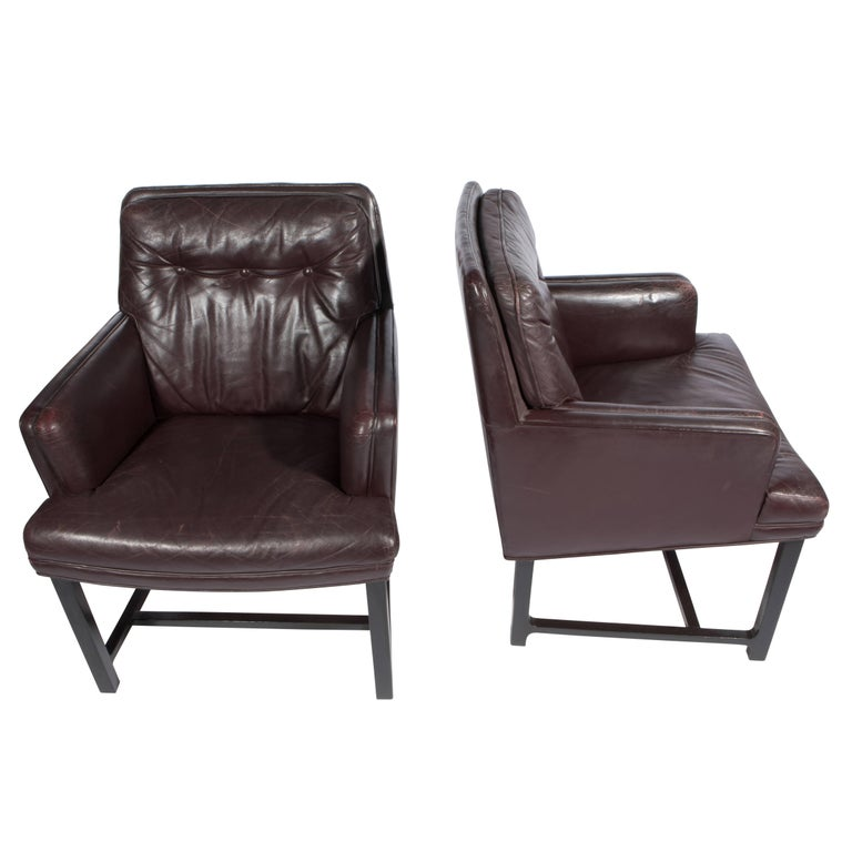Mid-20th Century Edward Wormley for Dunbar Armchairs with Original Leather, circa 1960s For Sale