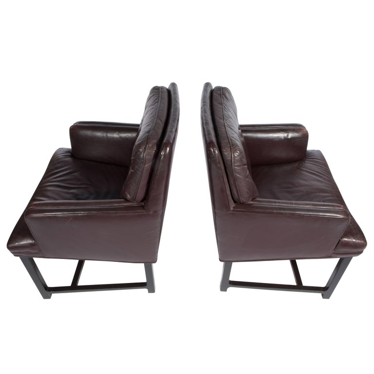 Edward Wormley for Dunbar Armchairs with Original Leather, circa 1960s For Sale 3