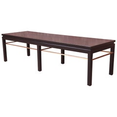 Edward Wormley for Dunbar Black Lacquered Walnut and Brass Coffee Table, 1950s