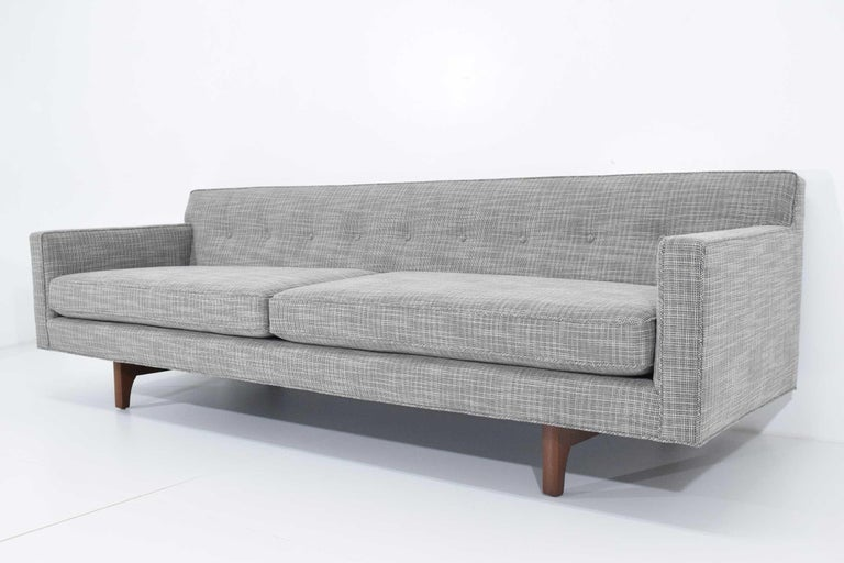 Edward Wormley for Dunbar Bracket Back Sofa's in New Upholstery For Sale 3