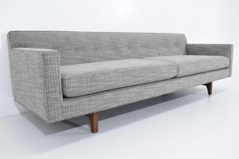 Edward Wormley for Dunbar Bracket Back Sofa's in New Upholstery For Sale 4