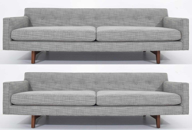 Edward Wormley for Dunbar Bracket Back Sofa's in New Upholstery In Excellent Condition For Sale In Dallas, TX