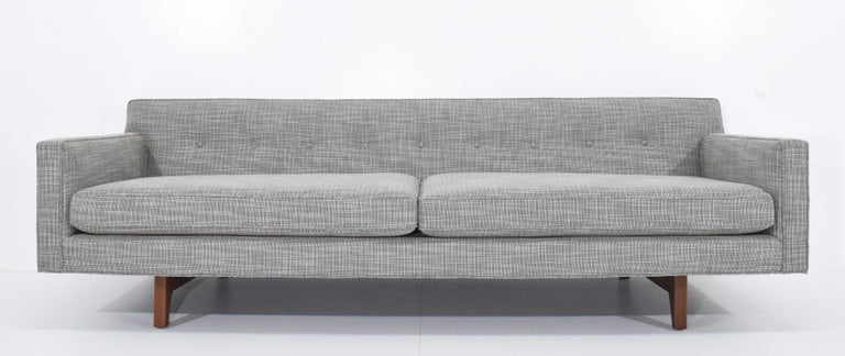 Brass Edward Wormley for Dunbar Bracket Back Sofa's in New Upholstery For Sale
