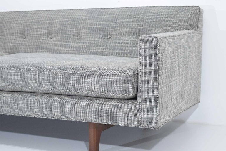 Edward Wormley for Dunbar Bracket Back Sofa's in New Upholstery For Sale 2