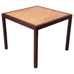 Edward Wormley for Dunbar Burl and Mahogany Dining or Game Table, Refinished