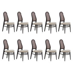 Edward Wormley for Dunbar Caned Back Dining Chairs Set of Ten
