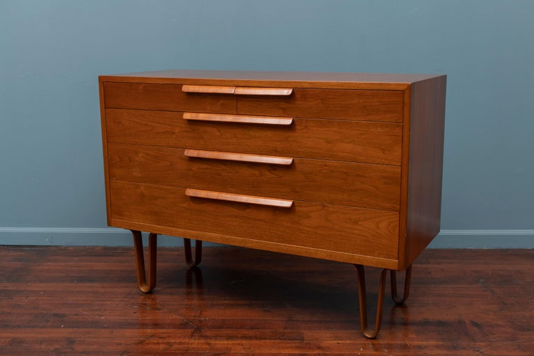 Edward Wormley design walnut chest of drawers for Dunbar Furniture Company, Berne Indiana. 