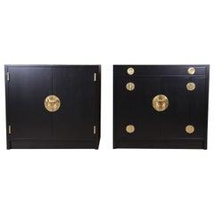 Edward Wormley for Dunbar Chinoiserie Ebonized Bar Cabinets, Pair