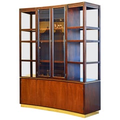 Edward Wormley for Dunbar Concave Walnut Credenza and Display Shelves Wall Unit