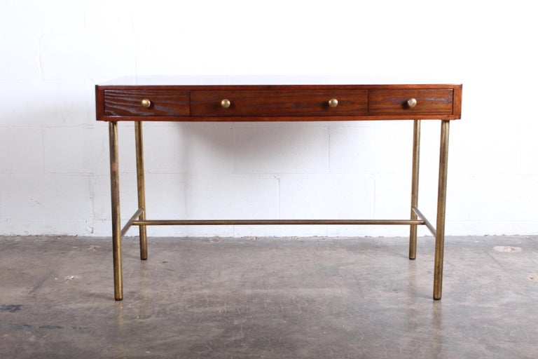 Edward Wormley for Dunbar Desk with Brass Base In Good Condition For Sale In Dallas, TX