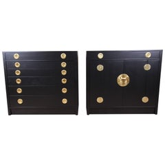 Edward Wormley for Dunbar Ebonized Janus Collection Chests, Pair