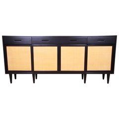 Edward Wormley for Dunbar Ebonized Walnut and Grass Cloth Sideboard, Restored