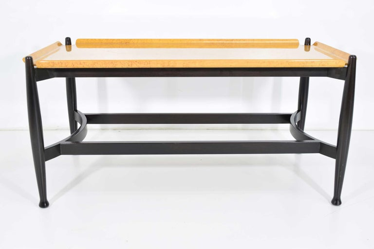 Rare Wormley table bentwood burl maple with ebonized rosewood tapered legs. Tray style.