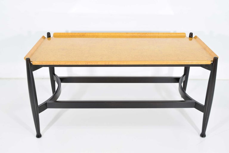 Mid-Century Modern Edward Wormley for Dunbar Figured Maple and Rosewood Cocktail Table For Sale