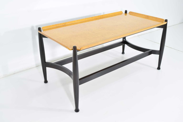 American Edward Wormley for Dunbar Figured Maple and Rosewood Cocktail Table For Sale
