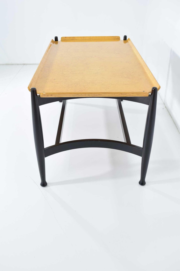 Birdseye Maple Edward Wormley for Dunbar Figured Maple and Rosewood Cocktail Table For Sale