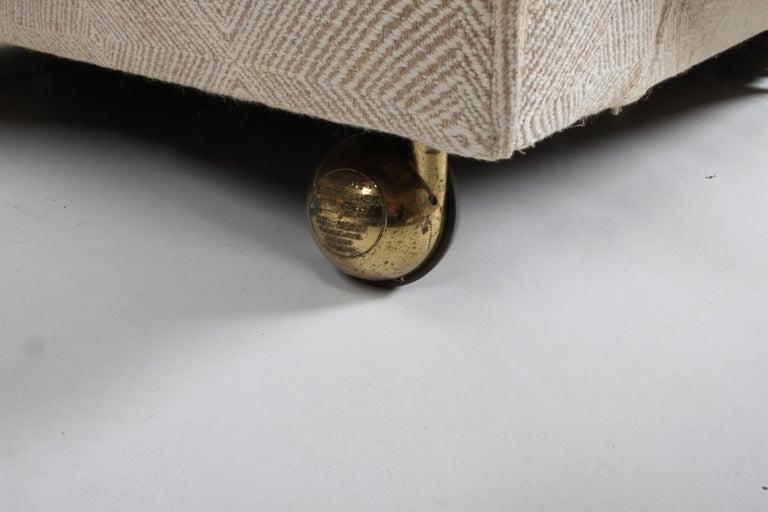 Brass Edward Wormley for Dunbar Formal Tuxedo Down Filled Sofa For Sale