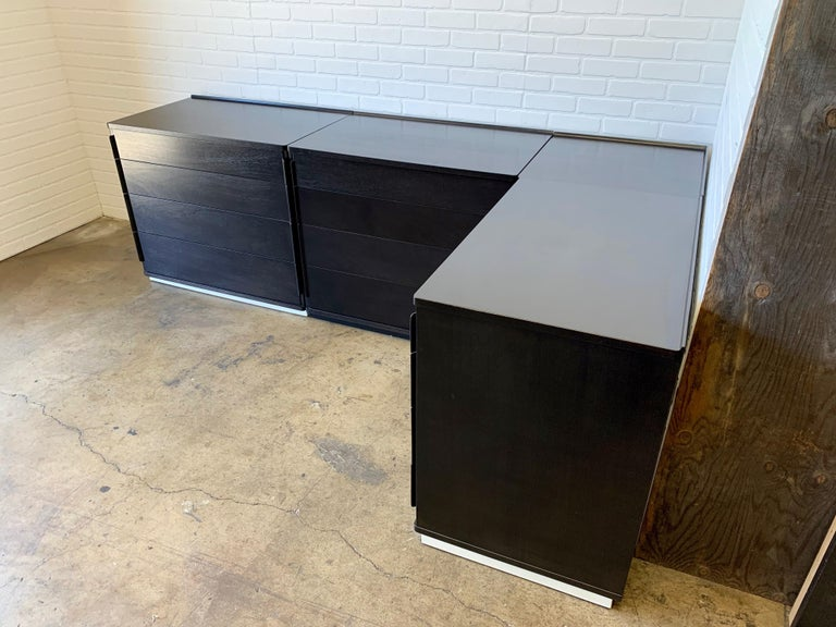There are three dressers and one corner table that can configure in a combination of layouts each dresser measures: H 29.75 in. x W 34 in. x D 21.25 in. and the one table is H 29.75 in., W 21.5 in., D 21.5 in.