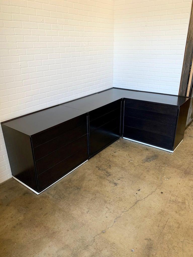Ebonized Edward Wormley for Dunbar Four-Piece Corner Dresser For Sale