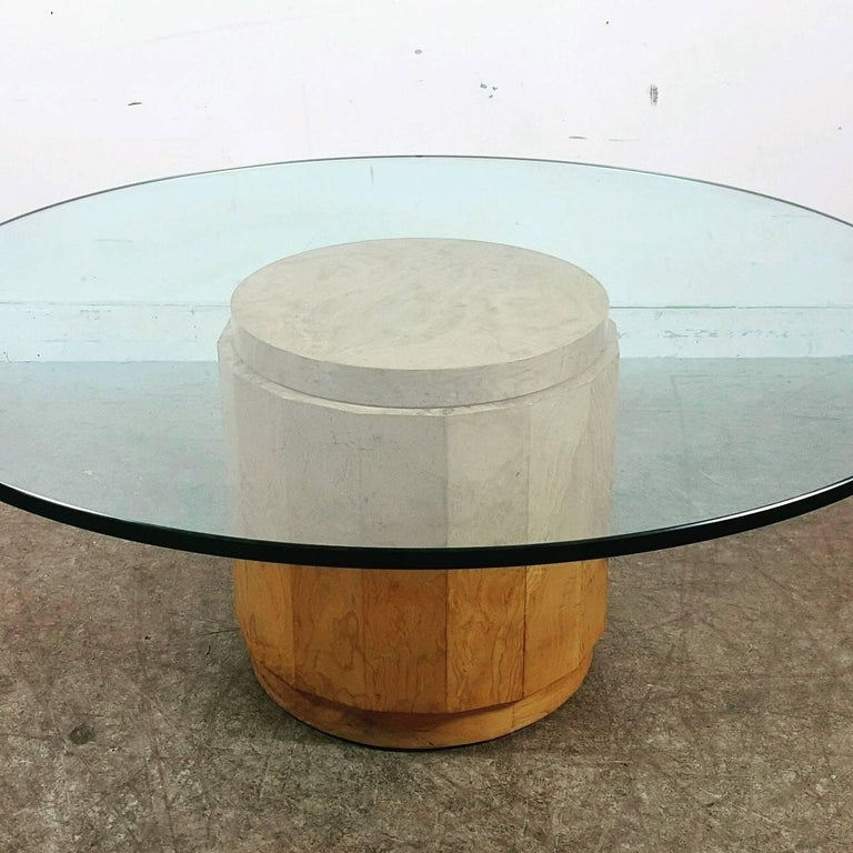 Edward Wormley glass and burl cocktail table, retains original large