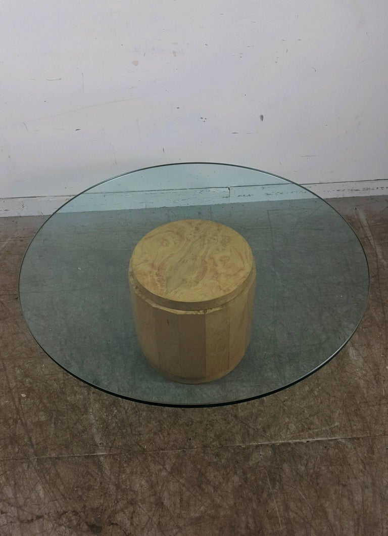 Edward Wormley for Dunbar Glass and Burl Cocktail Table In Excellent Condition For Sale In Buffalo, NY
