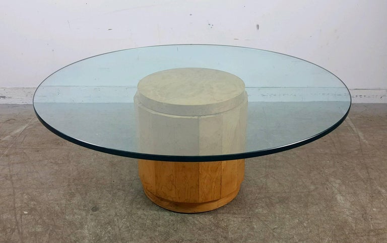 20th Century Edward Wormley for Dunbar Glass and Burl Cocktail Table For Sale