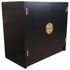 Edward Wormley for Dunbar Janus Collection Ebonized Bar Cabinet, Refinished