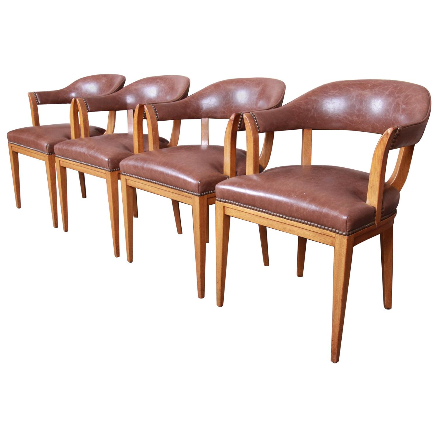 Edward Wormley for Dunbar Janus Collection Leather Dining Chairs, Set of Four