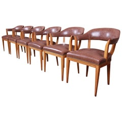 Edward Wormley for Dunbar Janus Collection Leather Dining Chairs, Set of Six