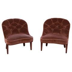 Edward Wormley for Dunbar Janus Collection Mohair Velvet Slipper Chairs, Pair