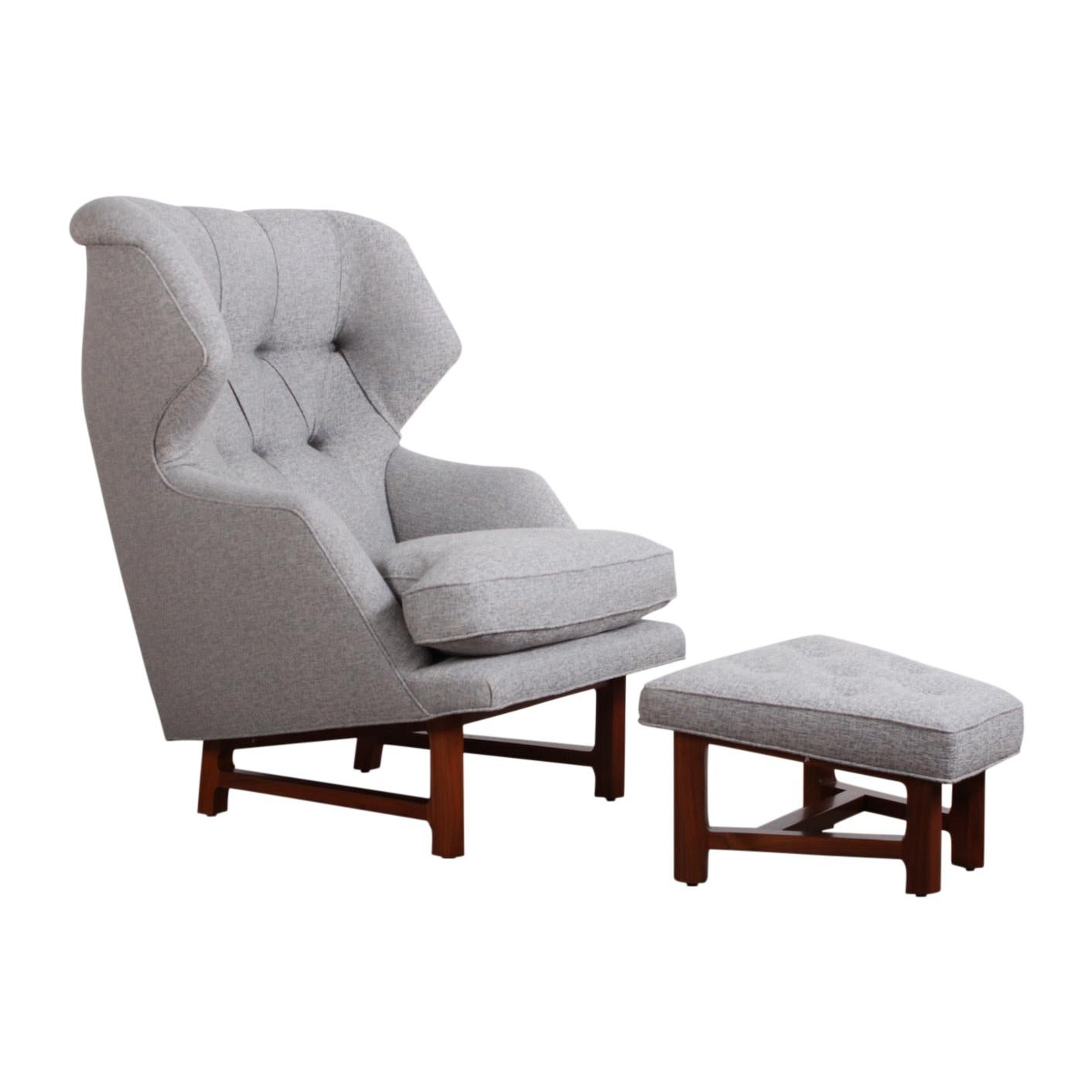 """Edward Wormley for Dunbar """"Janus"""" Wing Chair and Ottoman"""