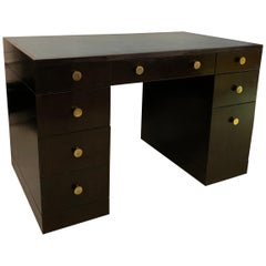 Edward Wormley for Dunbar Lacquered Rosewood Desk with Leather Top