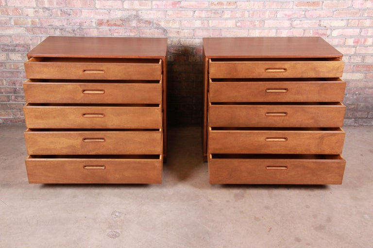 Edward Wormley for Dunbar Mahogany Bachelor Chests or Large Nightstands, Pair For Sale 2