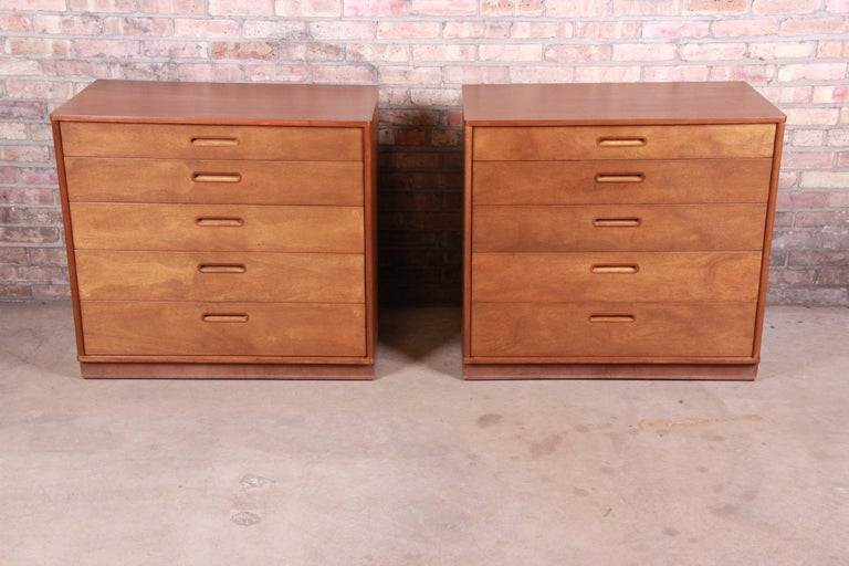 American Edward Wormley for Dunbar Mahogany Bachelor Chests or Large Nightstands, Pair For Sale