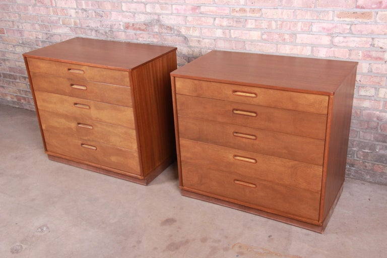 Bleached Edward Wormley for Dunbar Mahogany Bachelor Chests or Large Nightstands, Pair For Sale