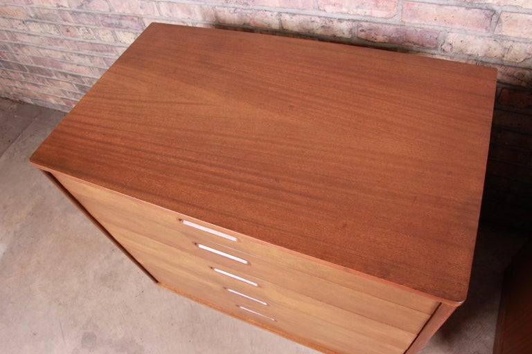 Leather Edward Wormley for Dunbar Mahogany Bachelor Chests or Large Nightstands, Pair For Sale