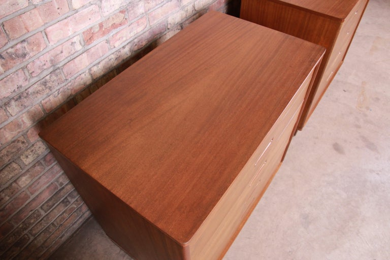 Edward Wormley for Dunbar Mahogany Bachelor Chests or Large Nightstands, Pair For Sale 1